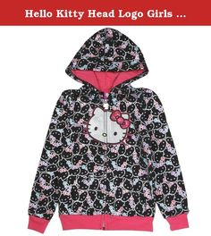 Hello Kitty Head Logo Girls Long Sleeve Fashion Hoodie (5, Black). Sanrio Girls Hello Kitty Fashion zip up hoodie.