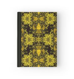 """""""Fractal pattern """"Black with mustard"""""""" Hardcover Journals by floraaplus 