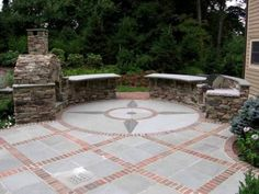 Image of Round and Diamond Shapes Patterns Brick Patio Attached by Stacked Stone Fireplace Below Stone Outdoor Kitchen Island for Astounding Design of Brick Patio Ideas