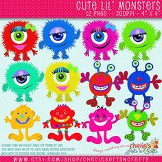 Cute Monsters Clip Art, Set of 12 PNG Monster Graphics, Monsters Clipart, Whimsical Monsters Clipart, Digital Download, Digital Scrapbooking by CheriesArtsnCrafts on Etsy
