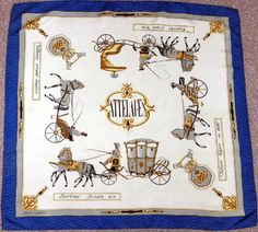 French Rene Martin Attelages Vintage Quality Silk Scarf