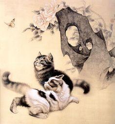 """ru / Asmadeus – Album """"Xu Xin"""" - My Cats - Happy cats Funny Cat Videos, Funny Cat Pictures, Funny Cats And Dogs, Cute Cats, Japan Painting, Japanese Cat, Cat Sleeping, Cat Drawing, Christmas Cats"""