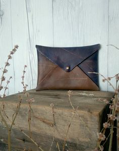 Leather Envelope Clutch Wallet Boho Chic Sun by LikeTheBrightness