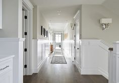 *Wainscotting  *Paint color is Revere Pewter by Benjamin Moore. California Beach House Designed by Brandon Architects