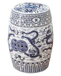 Gorgeous and versatile Chinese garden stool. We have a few of them inside the garden as well. They can be used as stool, plant stand, tea table, you name it. Blue And White China, Blue China, Navy And White, Chinese Garden, Chinese Art, Chinese Dragon, Vintage Stool, Vintage Ceramic, Williams Sonoma