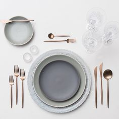 Dusty Blue Lace Chargers + Heath Ceramics in Mist & Slate + Rose Gold Flatware + Czech Crystal Coupe Trios + Antique Crystal Salt Cellars | Casa de Perrin Design Presentation