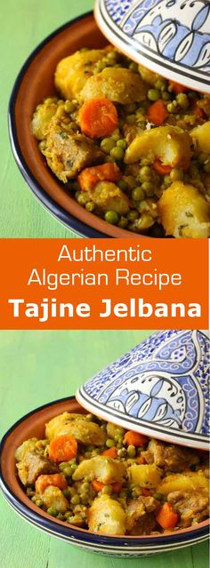 Tajine jelbana is a traditional North African meat stew prepared with peas, artichoke, potatoes and carrots. #algeria #tunisia #maghreb…
