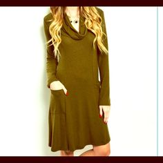 Mock Turtleneck Cape Maxi Tunic Shirtdress NWOT Olive pocket dress! NWOT. 2 S 2 M 2 L Pastel. Embellished. Cable Knit. Body conscious Bandage. Bodycon. Crochet. Striped semi Pleated Maxi Tunic Dress. Marled. Shirt dress. Sheath FashionBohoLoco Dresses Maxi
