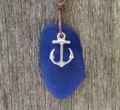 Anchor Sapphire Blue Sea Glass Necklace  by Wave of by WaveofLife