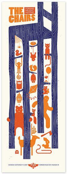 Concert poster screen print by Bandito Design Co., 2009.