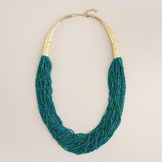 Green, Turquoise and Gold Seed Bead Necklace