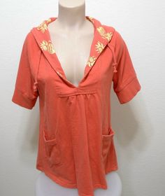 WOMEN FREE PEOPLE ANTHORPOLOGIE pullover short sleeve hoodie M Orange #FreePeople #Hoodie