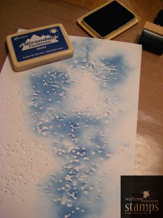 add rock salt to a sheet of paper and run it through the big shot, remove the rock salt, then sponge color on top. Plus lemon juice stamping (invisible ink technique) Card Making Tips, Card Making Tutorials, Card Making Techniques, Making Ideas, Embossing Techniques, Rubber Stamping Techniques, Tampons, Crafty Craft, Copics