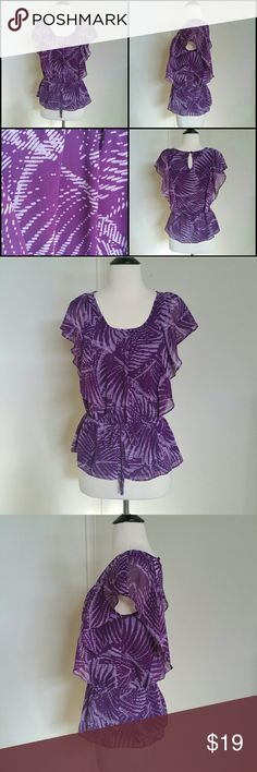 Ruffled Top Purple ruffled/butterfly styled top size Small. In great condition like new! Elle Tops Blouses