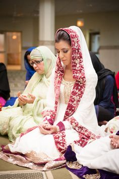 South Asian desi bride. Wedding ritual prayer du'a at masjid, mosque. Muslim bride. Nikkah outfit. Pakistan bridal nikkah fashion. Photo by:Maha Designs