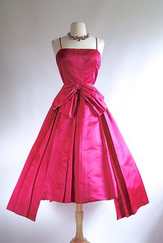 Vintage 1950's Haute Couture Silk Satin Party Dress ~ 50s Hot Pink Cocktail Dress