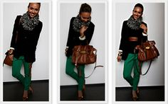#StrictlyStyle #fashionblogger #MulberryAlexa  Nice combo of green, black and cognac brown
