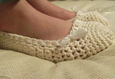 Cotton Wedding Slippers In Creamy Ballet. $15.00, via Etsy.