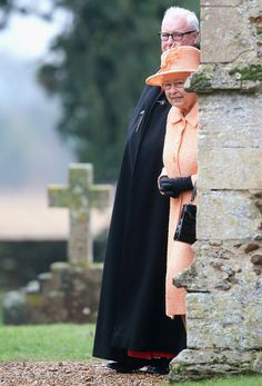 Queen Elizabeth II leaves the Sunday Service at Wolferton Church on 19.01.14 in Norwich, England.