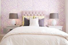 Gray Nightstands, Contemporary, Girl's Room, Brooke Wagner Design lavender tufted headboard print fabric upholstered walls