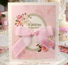 pink vintage floral wedding invitations decorated with ribbon and lace #elegantweddinginvites