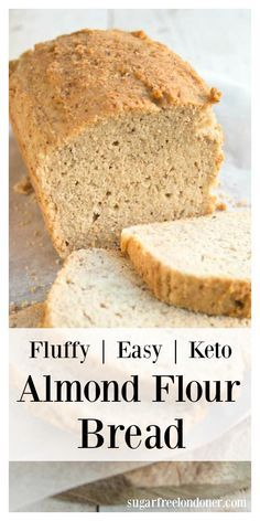 A quick and easy almond flour bread that does not taste eggy. The perfect keto sandwich bread! Gluten free and low in carbs. #almondflourbread #ketobread via @sugarfreelondon