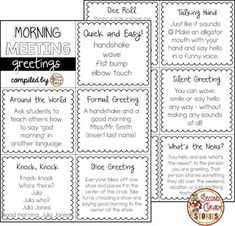 Ideas for morning meeting greetings! It is good to switch it up so children do not get bored with the greeting portion of the meeting. Morning Meeting Kindergarten, Morning Meeting Activities, Morning Meeting First Grade, Meeting Games, Work Meeting, Group Activities, Class Meetings, Morning Meetings, Morning Work