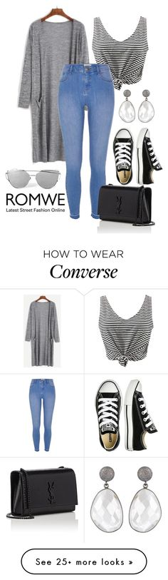 """grey romwe"" by bidermajer on Polyvore featuring WithChic, River Island, Converse and Yves Saint Laurent"