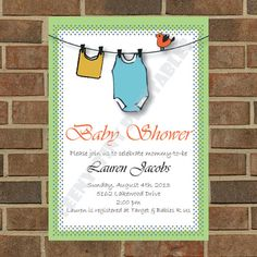 baby shower invitation for boy clothesline bird dots custom design $11.00 etsy Teeny-Tiny Printables http://www.etsy.com/shop/TeenyTinyPrintables?ref=si_shop