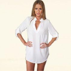 2016 Womens Chiffon Sexy V Neck T-Shirt Nightgowns Plus Size Long Sleeve Slik Sexy Nightie Sleepwear Dress Sexy Nightdress XL