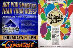 Come prove once and for all that you are, in fact, smarter than your boss! And then challenge him/her to a dance-off with The Classic Yellow! Trivia starts tonight at 6 PM.