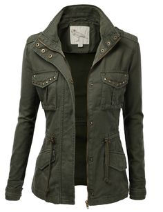 Trendy Camo Military Cotton Drawstring Jacket with Studs
