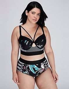 Mixed-Print Longline Bikini Top with Built-In Balconette Bra 6b38c27d1
