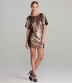 Aidan Mattox Bloused Sequin Cold Shoulder Dress - yes, I wear ...