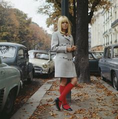 """theswingingsixties: """" France Gall, """" Yeah, we know she was a manufactured babydoll pop star, but we like the way those brightly coloured knee socks make the sober tailored coat look more. Swinging London, 1960s Fashion, Vintage Fashion, Stage Outfit, Rock And Roll Girl, Fashion Beauty, Girl Fashion, Style Fashion, French Songs"""