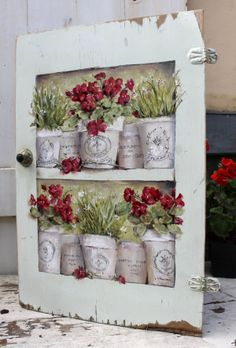 Old cupboard door, with my hand painted French Pots and flowers www.gailmccormack.com
