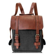 Backpack Leather-style School Vintage Backpack