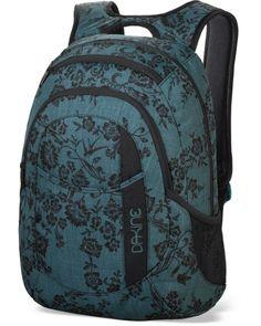 """Dakinen  Garden -malliston reppu. Claudette -kuvioinen repu on tyylikäs ja naisellinen. Tilavat taskut takaavat, että mukaan mahtuu kaikki tarpeellinen. Etutaskuun on helppo järjestellä pienimmät tavarat ja repun päällä olevassa taskussa aurinkolasit eivät naarmuunnu, kiitos fleece vuoren! Reppuun mahtuu 14"""" kannettava tietokone. Dakine Garden 20l, Claudette - BeBag.fi"""