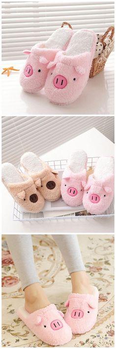 2c791ce04cd2d Women Cute Pig Design Soft Warm Slippers