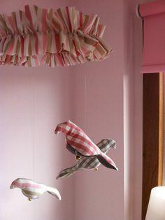 nursery decor - pink and gray gingham