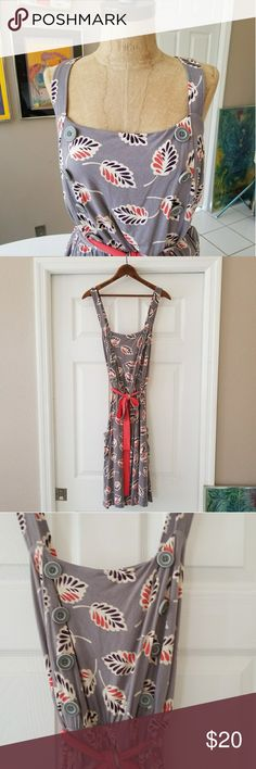 Anthropologie apron dress XL Super cute dress by Little Yellow Button in soft cotton jersey, fully lined, elastic waist, contrasting self belt, great 40s inspired print and buttons, square pockets with button details on both sides of dress, adjustable criss cross straps. Really adorable and flattering on. EUC. Please ask all questions before buying. Anthropologie Dresses