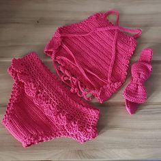 Crochet Bikini, Bikinis, Swimwear, Crop Tops, Diy, Fashion, Doll Outfits, Baby Dolls, Baby Bathing Suits