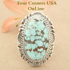 Elongated Dry Creek Turquoise Stone Ring Size 8 1/4 Thomas Francisco Four Corners USA OnLine Native American Indian Silver Jewelry NAR-1436