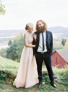 blush pink two piece wedding dress | www.onefabday.com