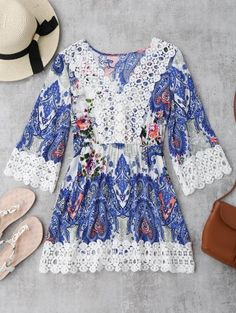 GET $50 NOW | Join Zaful: Get YOUR $50 NOW!http://m.zaful.com/crochet-insert-paisley-floral-print-mini-dress-p_285088.html?seid=4093044zf285088