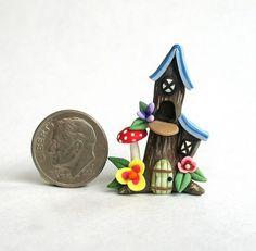 Miniature Whimsical Fairy Tree Stump House OOAK C Rohal | eBay