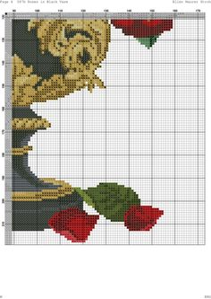 Roses In Black Vase 5 of 7 Cute Cross Stitch, Cross Stitch Rose, Cross Stitch Flowers, Counted Cross Stitch Patterns, Cross Stitch Charts, Cross Stitch Designs, Cross Stitch Embroidery, Needlepoint Stitches, Needlework