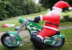 GEMMY 9' SANTA on CHOPPER MOTORCYCLE Christmas INFLATABLE YARD Airblown Light Up