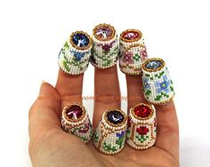 Made to Order - Pick One - Beaded Thimble with Swarovski Rivoli Top - You Choose. $25.00, via Etsy.