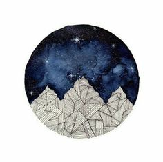 Mountains Watercolor Painting Blue Galaxy Art Print - paper size: 21x29.7cm (A4) or 14.8x21cm (A5) - printed on heavy weight (300gsm), textured,